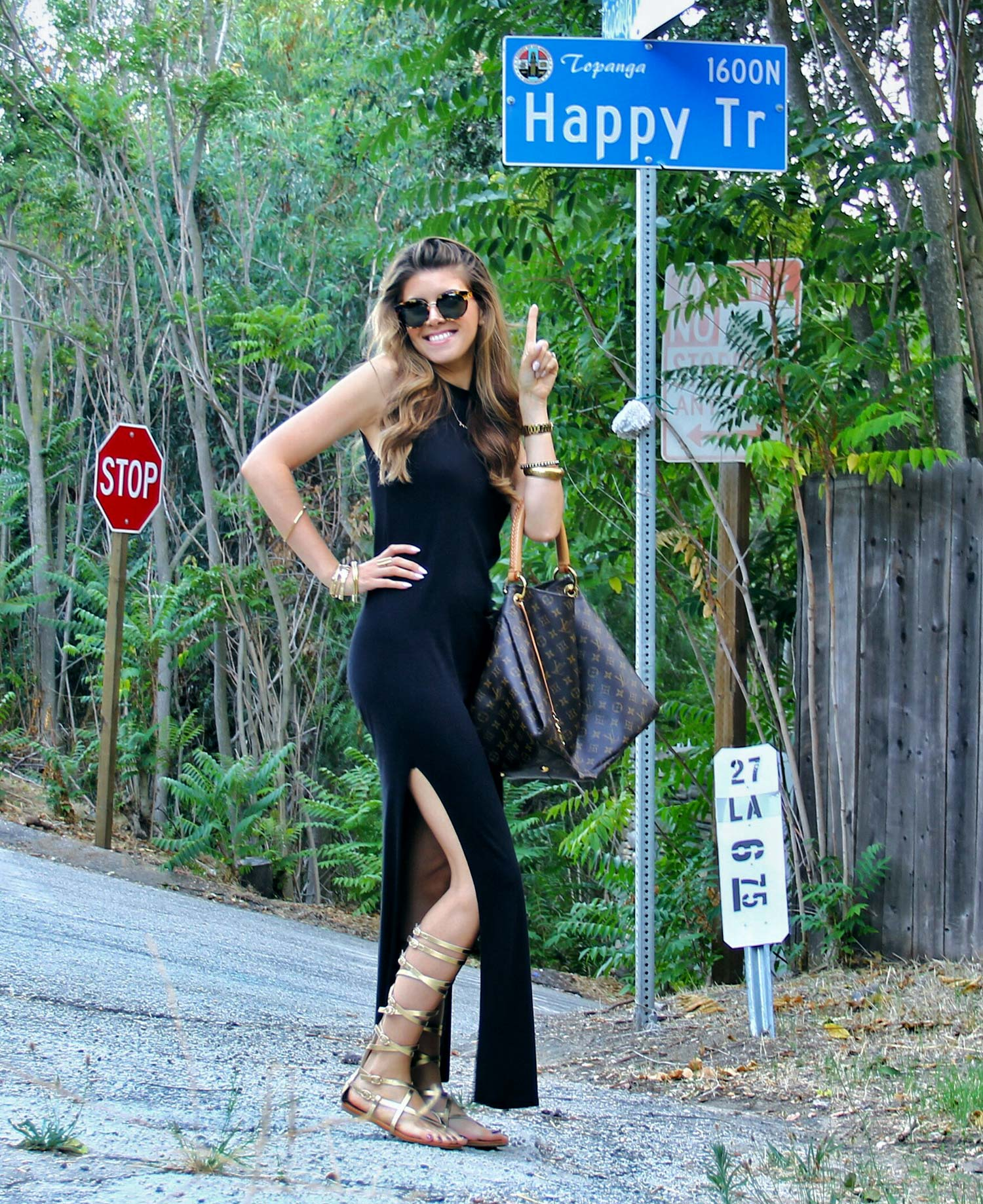 Black Maxi Dress with Gladiator Sandals and Louis Vuitton Handbag