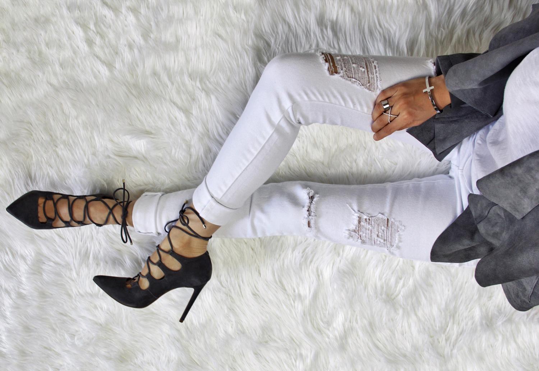 White, Grey & The Drape Front Jacket