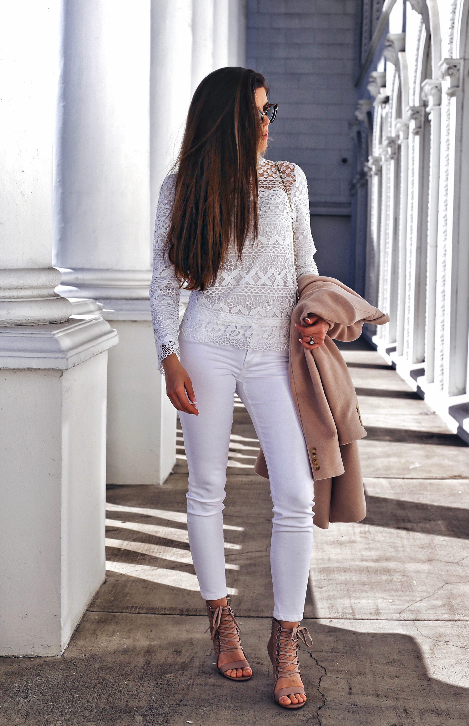 Fashion and lifestyle blogger Adelina Perrin of The Charming Olive wearing Chicwish Lace Top, Joes Jeans from Nordstrom and Senso Shoes