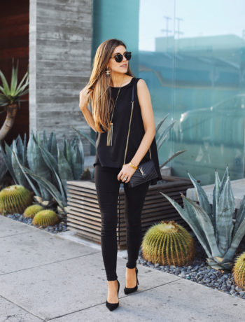 Fashion and lifestyle blogger Adelina Perrin of The Charming Olive wearing Switch Jewelry, Mott & Bow Jeans, Stitchfix top and YSL bag