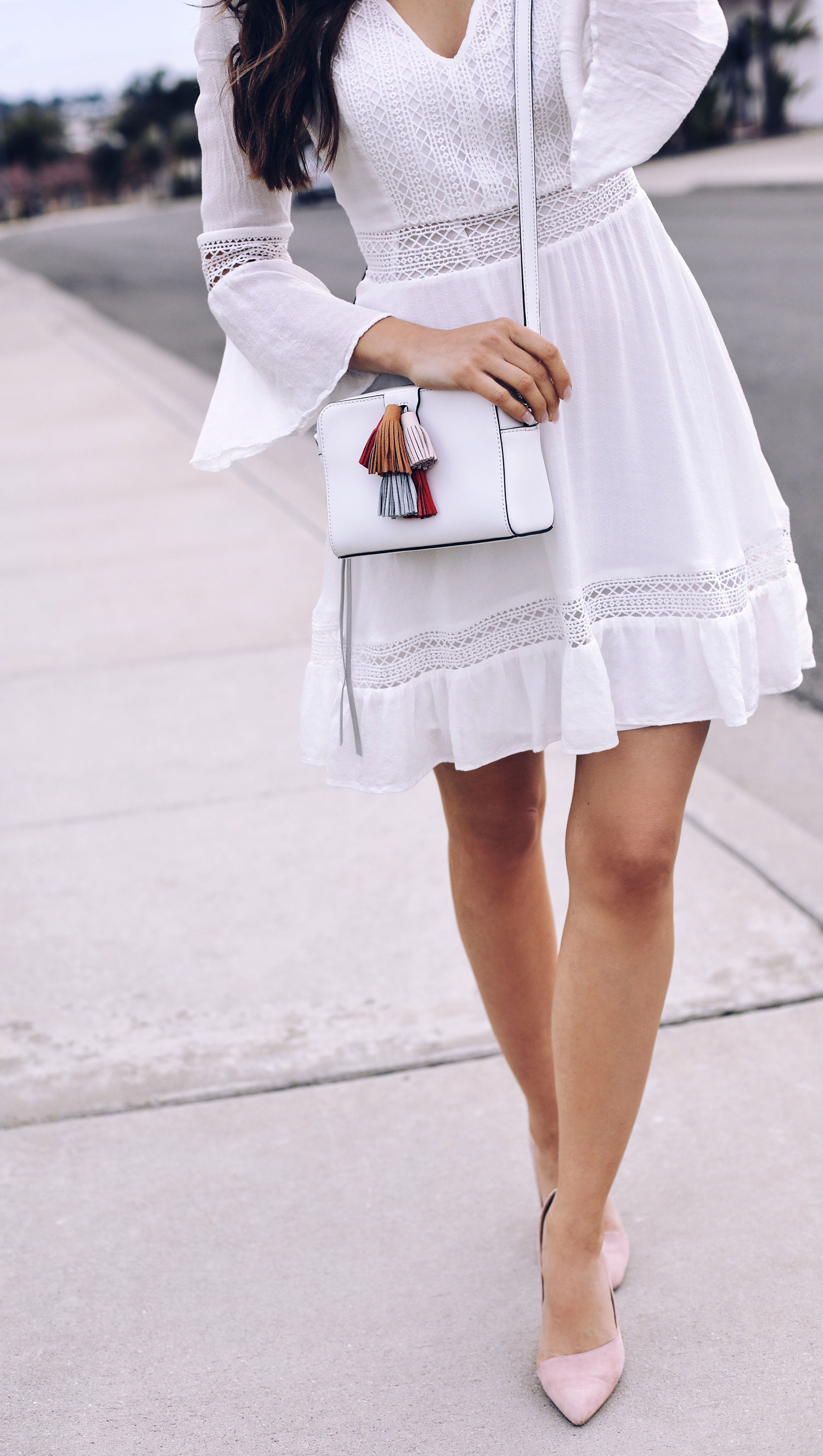 Fashion and lifestyle blogger Adelina Perrin of The Charming Olive wearing Rebecca Minkoff Dress, Bag and bandana
