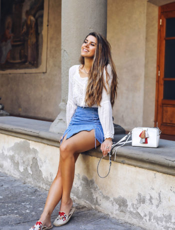 Fashion and lifestyle blogger Adelina Perrin of The Charming Olive wearing Chichwish Top and Skirt, Soludos Sandals and Rebecca Minkoff Bag